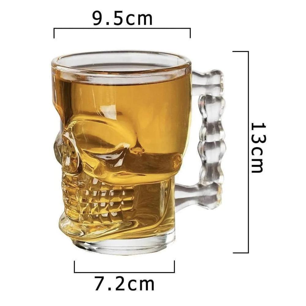 2 Caneca Caveira Cerveja e Chopp Vidro 510ml Rock Copo