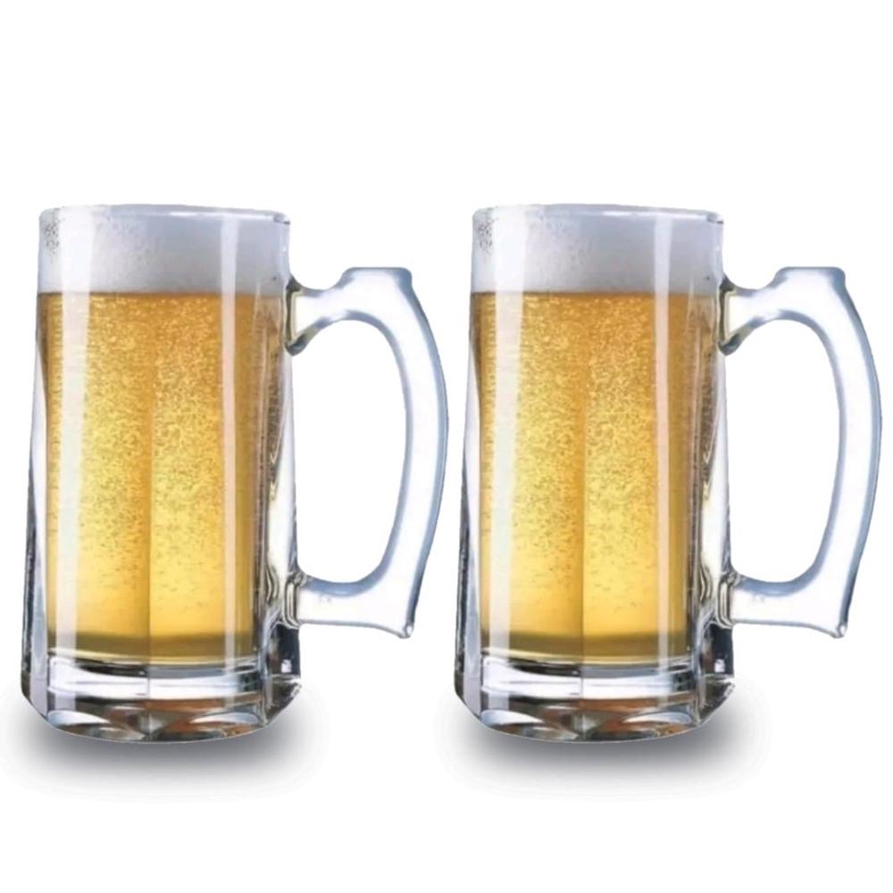 2 Caneca Cerveja e Chopp Alemã Vidro Copo Conjunto 370ml