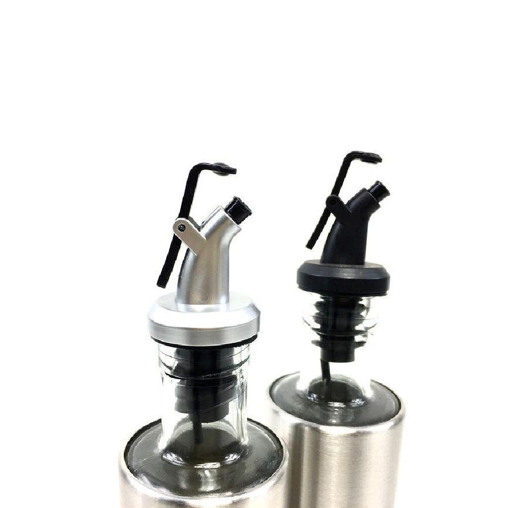 2 Galheteiro Azeite E Vinagre 300ml Vidro Aço Inox Dosador