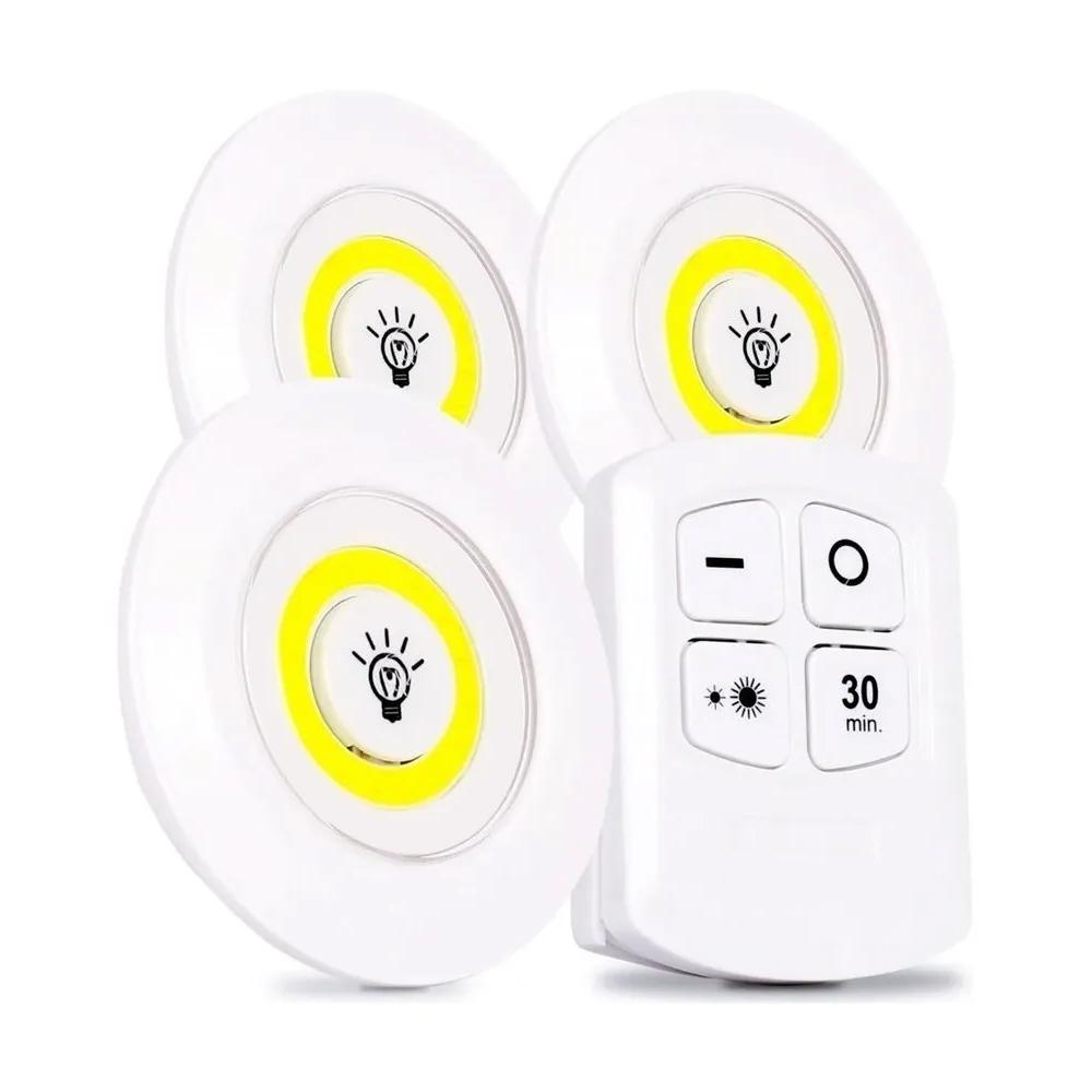 3 Luminária Lâmpada Spot Sem Fio Portátil Controle Remoto