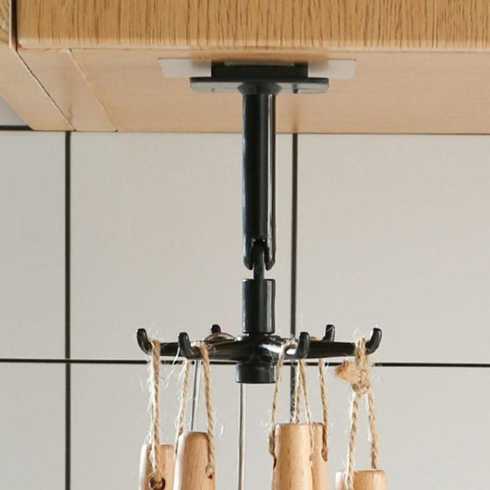5 Talheres Utensílios Cozinha Com Gancho Adesivo Rotatório