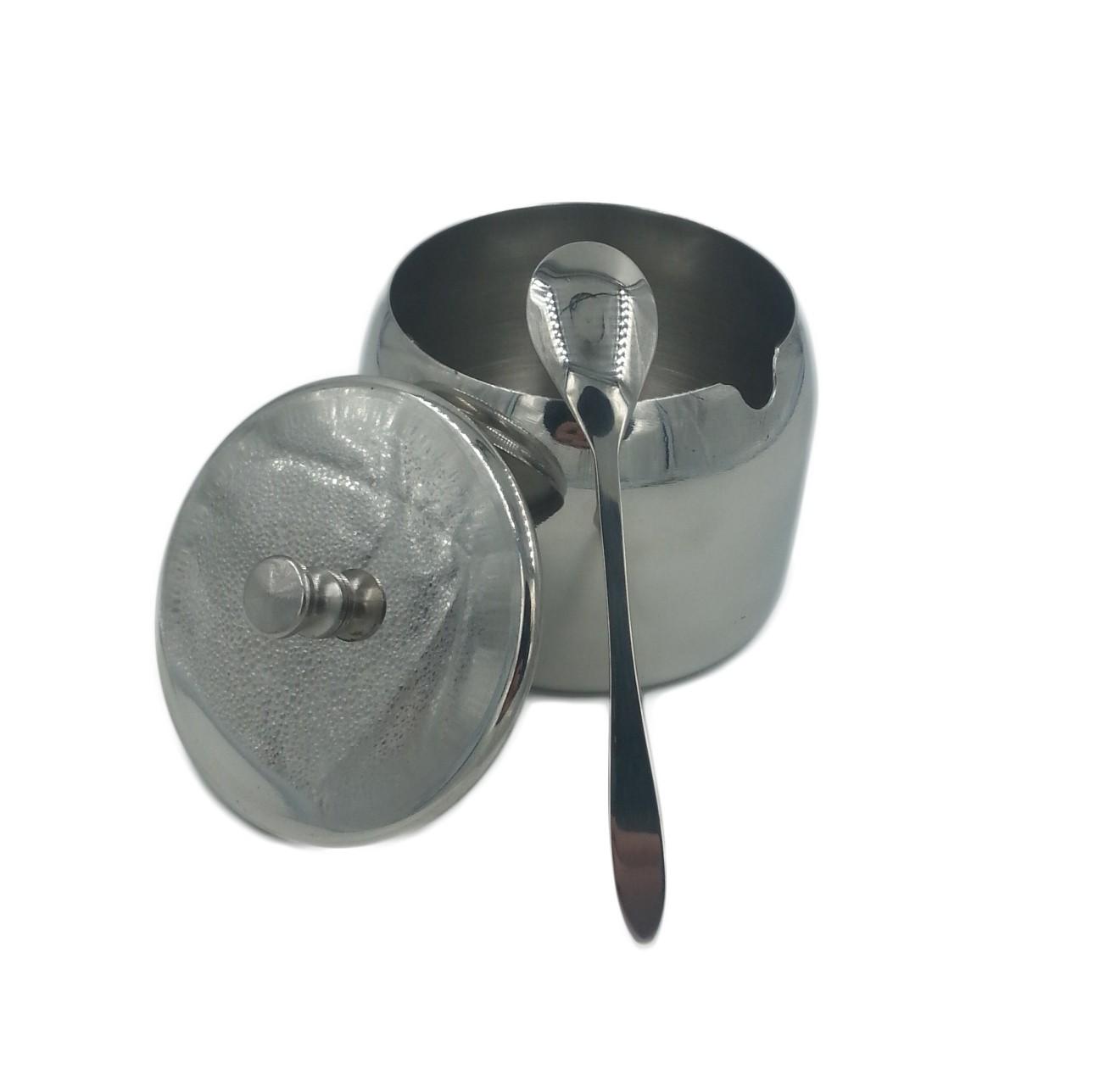 Açucareiro Com Colher Aço Inox Para Cozinha Super Resistente