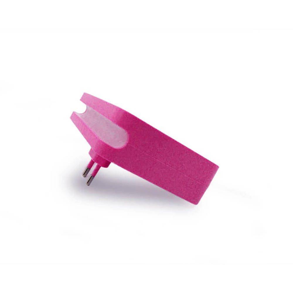 Adaptador de Tomada Universal 4 em 1 com Sensor Led Rosa