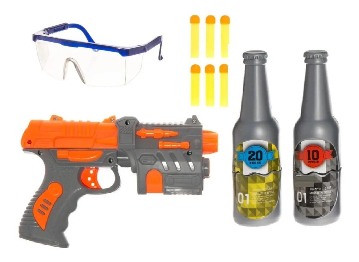 Arminha Brinquedo Lança 6 Dardo Pistola com alvo e óculos