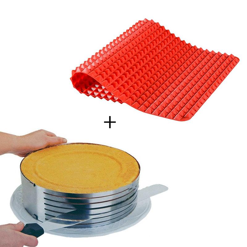Aro Cortador de Bolo 20cm + Tapete Silicone para Forno