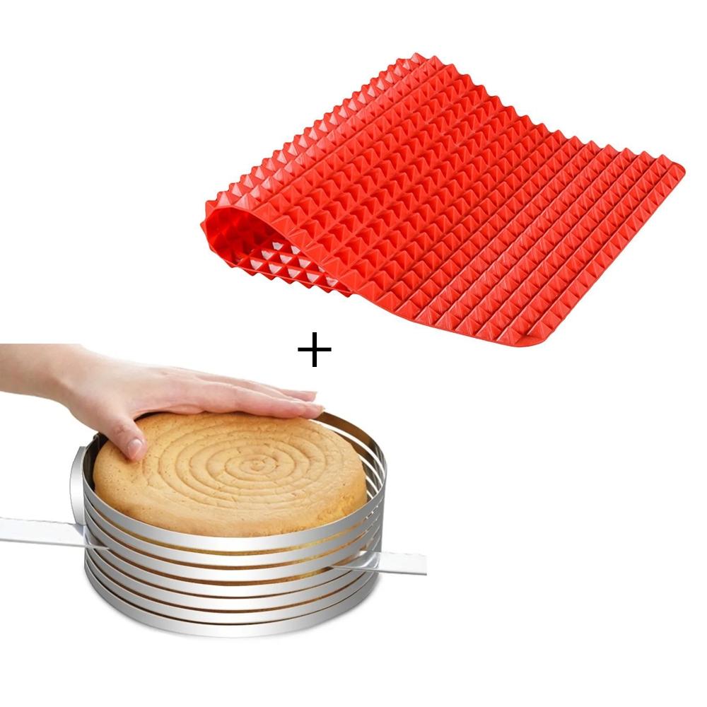 Aro Cortador de Bolo 30cm + Tapete Silicone para Forno