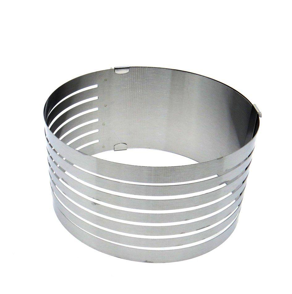 Aro de metal cortador fatiador de inox ajustável p/ bolo