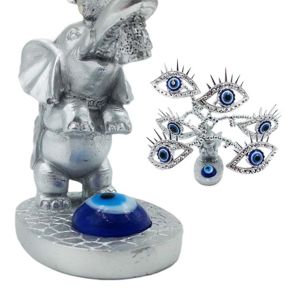 arvore olho grego com elefante decorativa 16 cm luxo