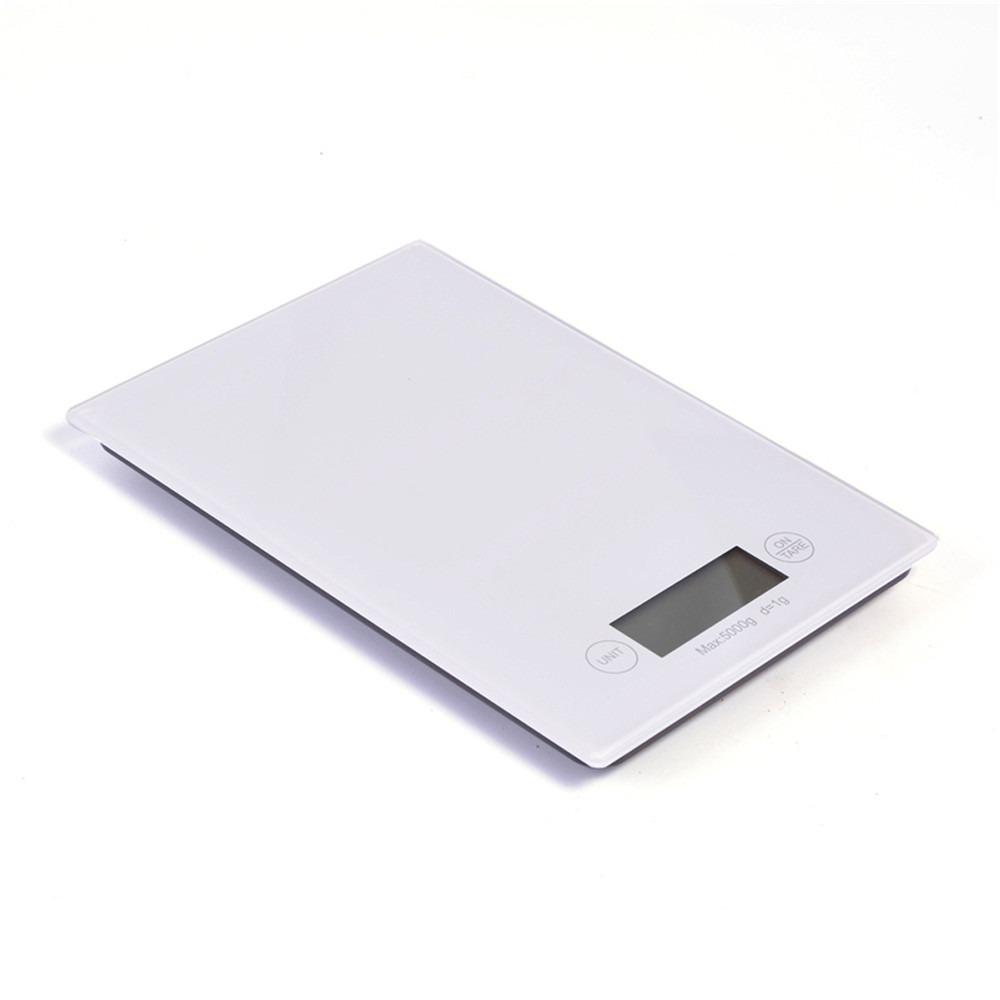 Balança Digital 5kg Retangular de Vidro temperado para Cozinha