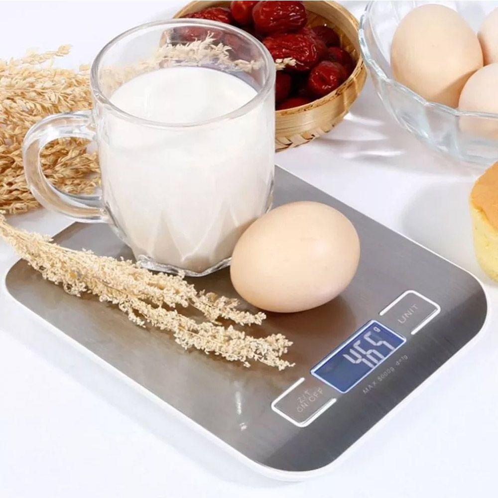 Balança Digital de Cozinha Aço Inox Suporta até 5kg