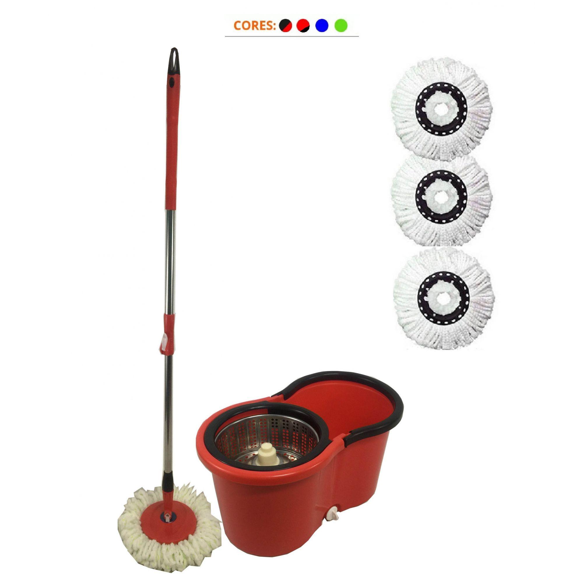 balde mop centrífuga Inox Cabo 1.30m com tampão e 3 refis
