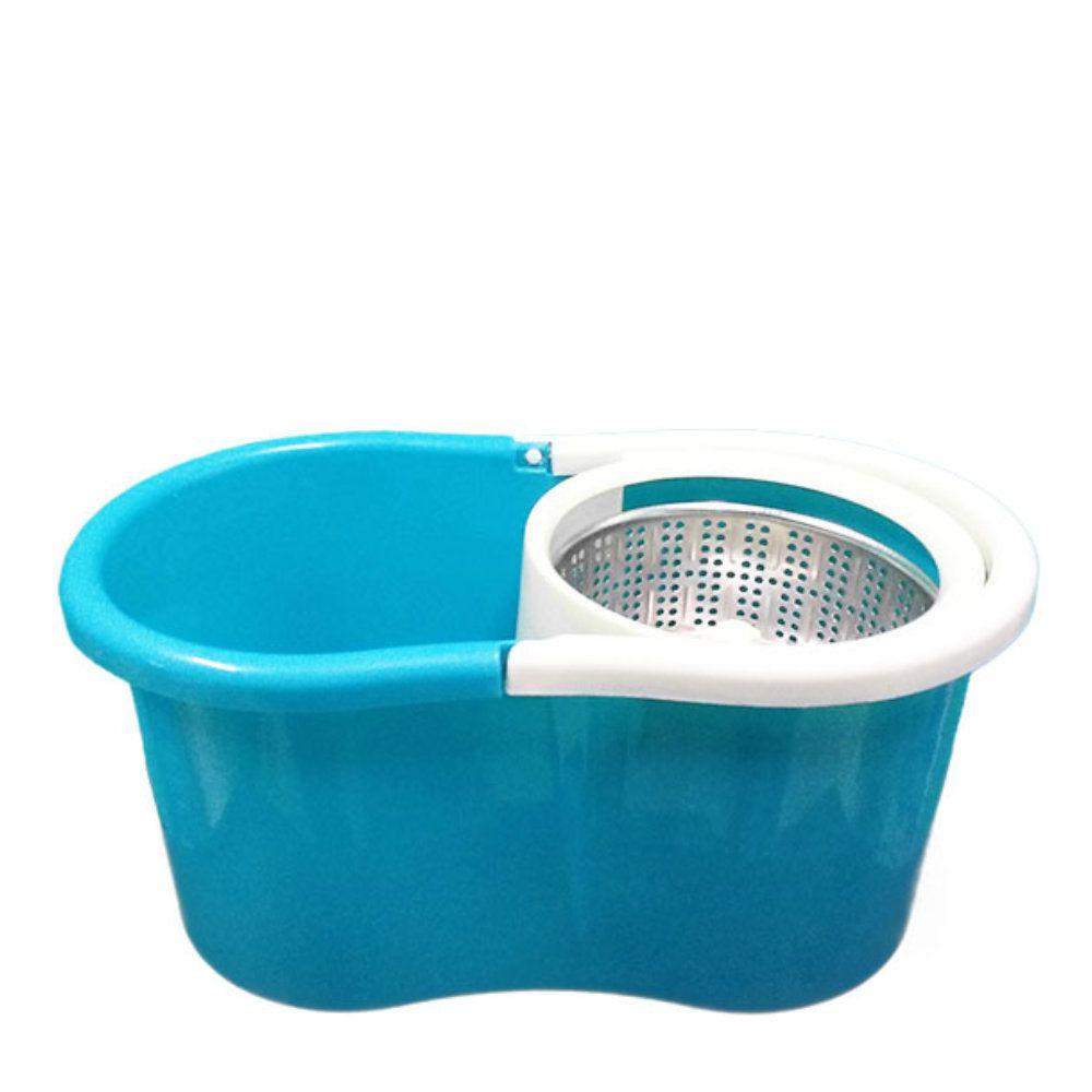 balde mop com centrifuga inox esfregão com 2 refis - azul