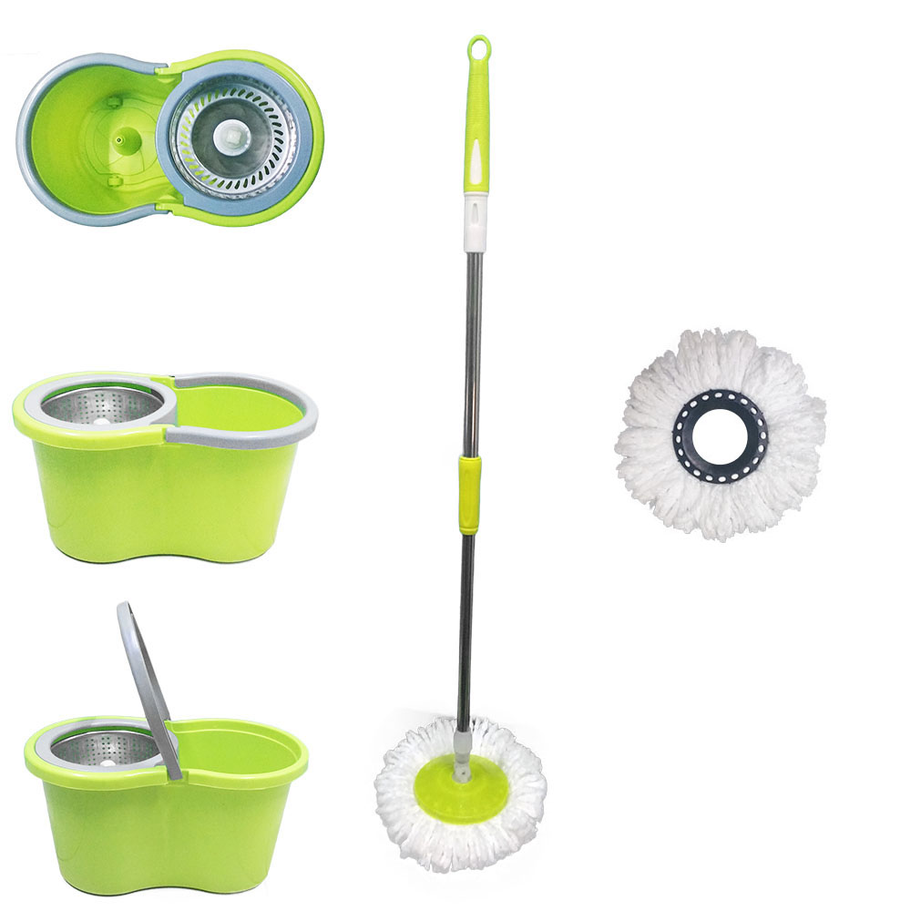 balde mop com centrifuga inox e esfregão com 2 refis - verde
