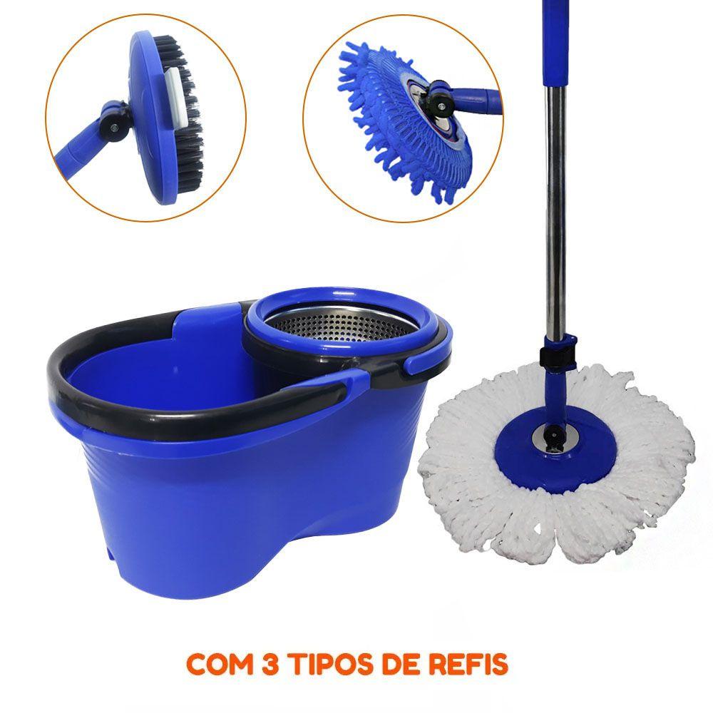 Balde Perfect Mop Pro 1.60m + 3 refis 1 Tira pó 1 Escovao