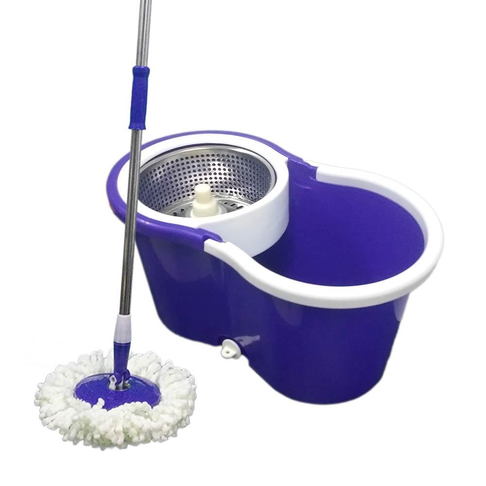 balde spin mop 360 com centrifuga inox com 2 refil - roxo