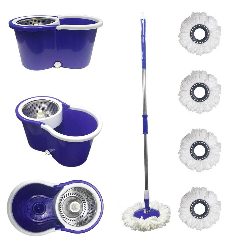 balde spin mop 360 centrifuga inox esfregão e 5 refis - roxo