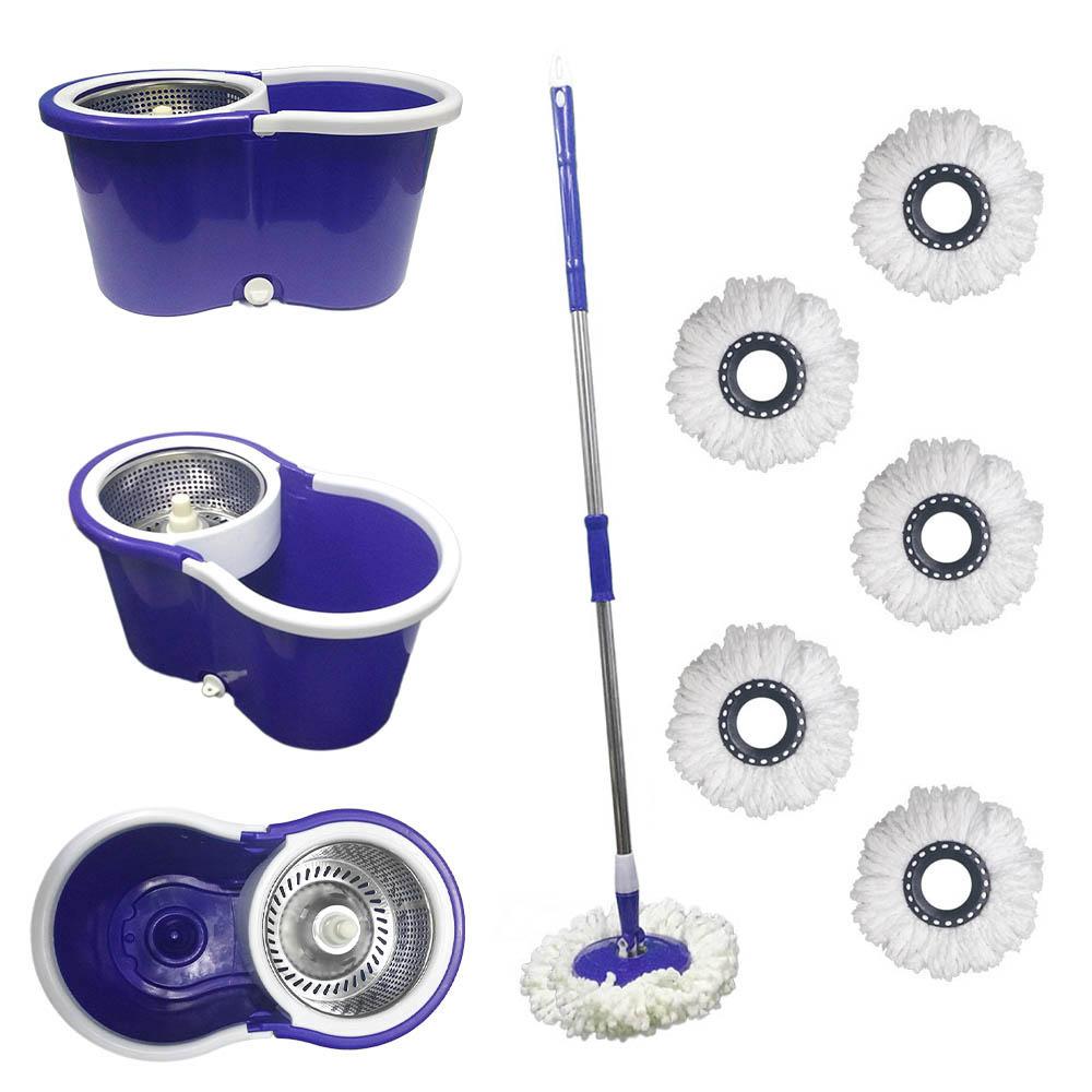 balde spin mop 360 com centrifuga inox e 6 refis - roxo