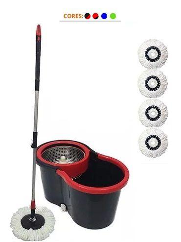Balde Spin Mop Centrifuga Inox Esfregão + 4 Refis Microfibra