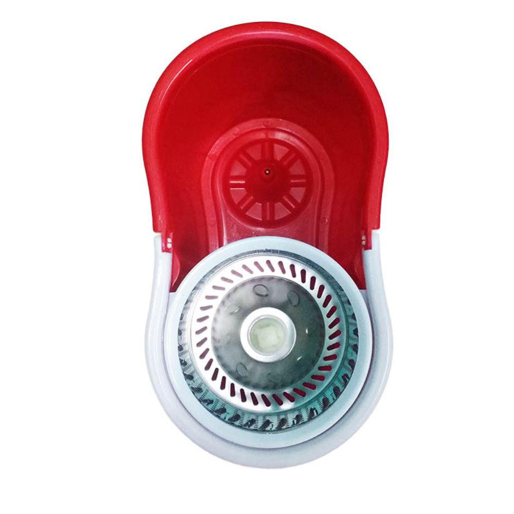 balde spin mop centrifuga inox esfregão com 3 refis vermelho