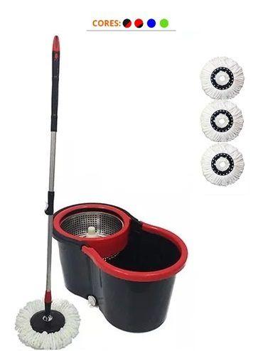 Balde Spin Vassoura Mop Centrifuga Inox C/ 3 Refis