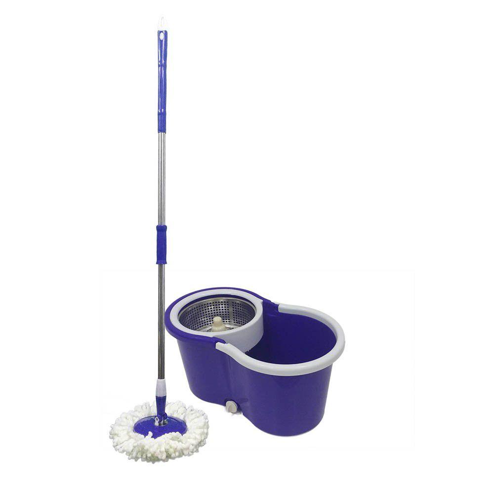 balde super mop centrífuga inox cabo 1.34m com 6 refis