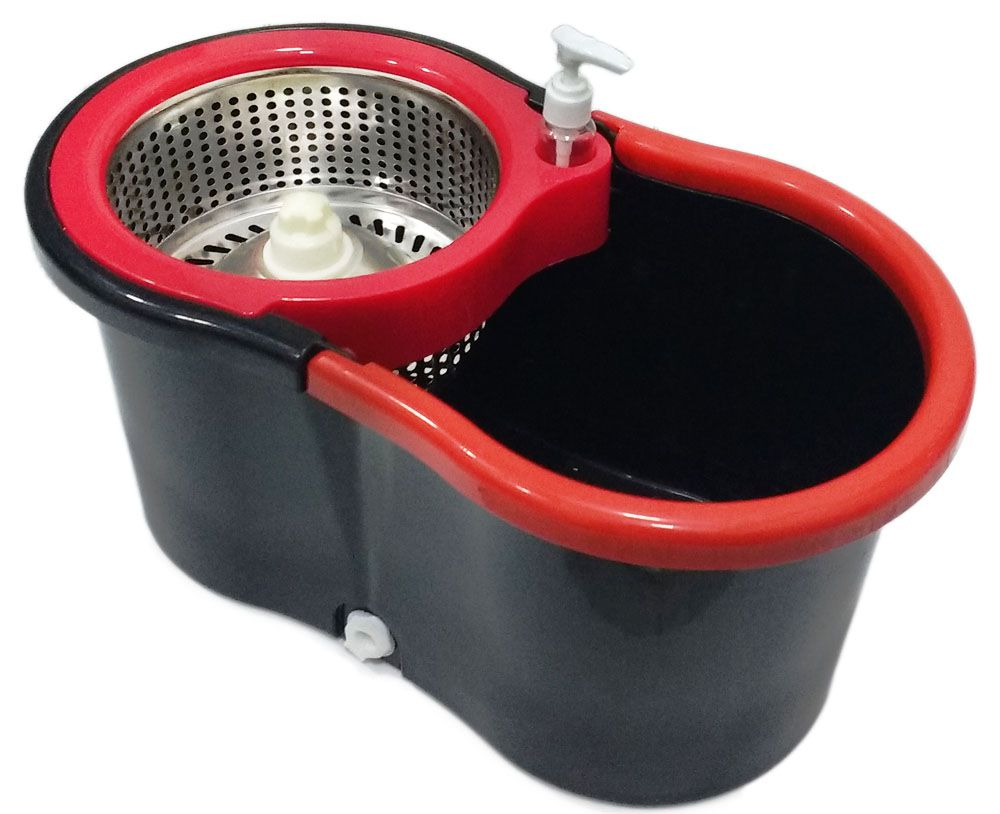 Balde Ultra spin mop Centrifuga Inox cabo 1.60m + 4 Refis Microfibra