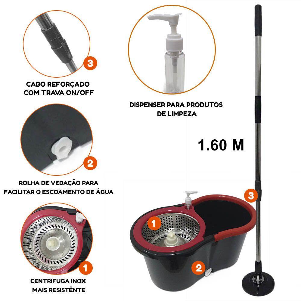Balde Ultra spin mop Centrifuga Inox cabo 1.60m + 6 Refis Microfibra