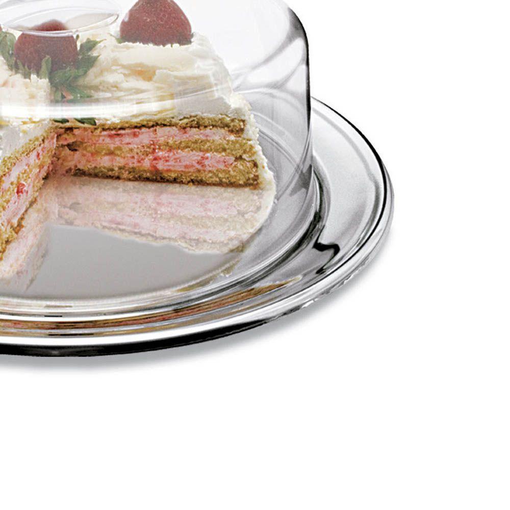 bandeja porta bolo em inox com tampa acrílico boleira 31 cm
