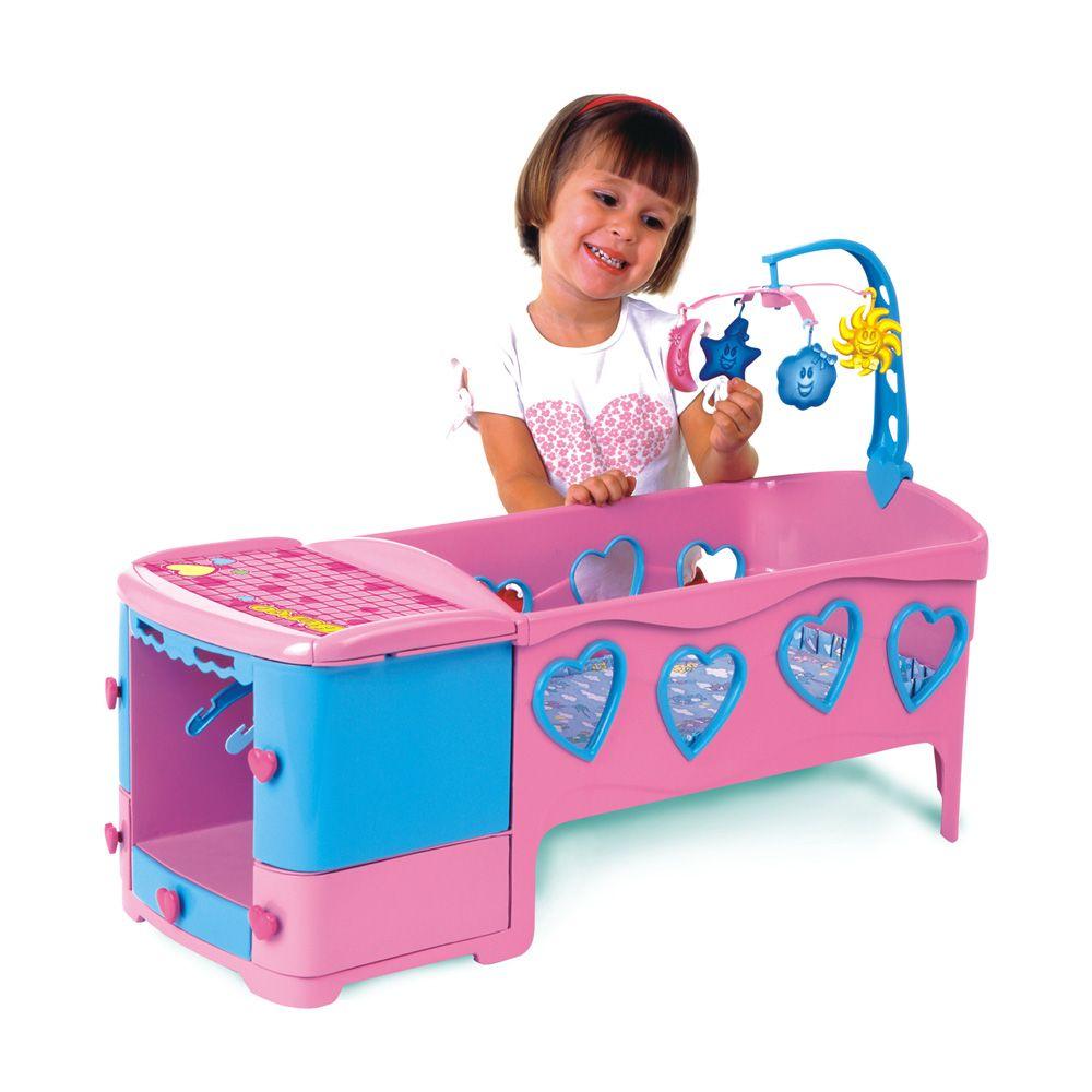berço para boneca doce sonho com cômoda gavetas e trocador