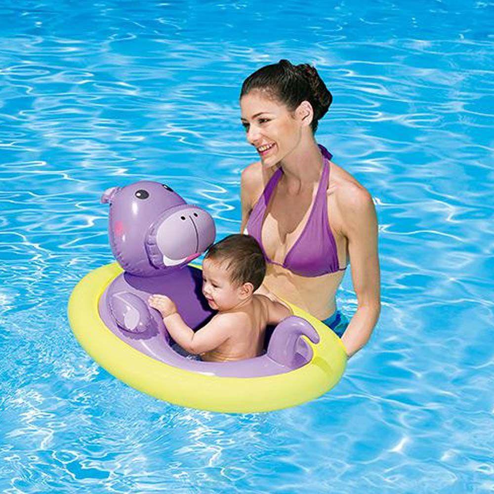 boia inflável hipopótamo para piscina com encaixe de pernas