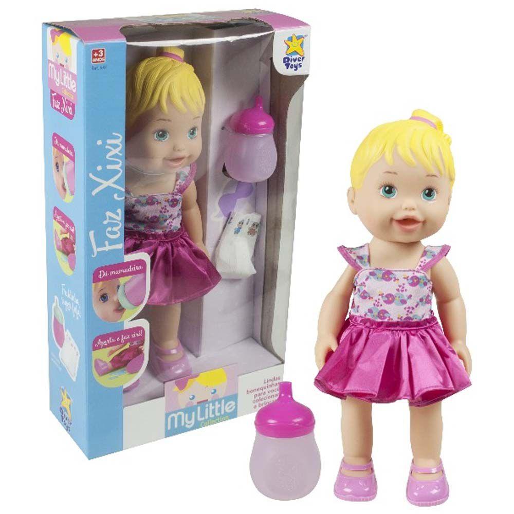 boneca my little baby faz xixi com fralda e amadeira 35 cm