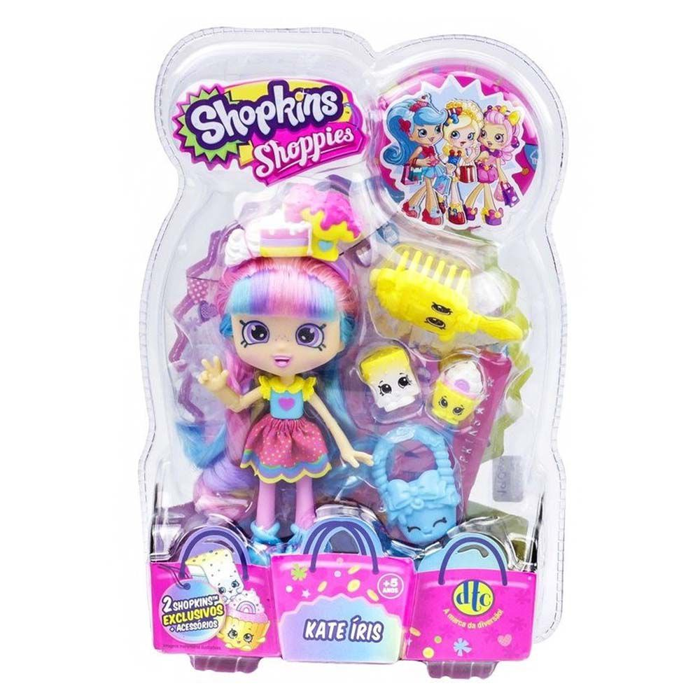 boneca shoppies kate iris com 2 shopkins exclusivos
