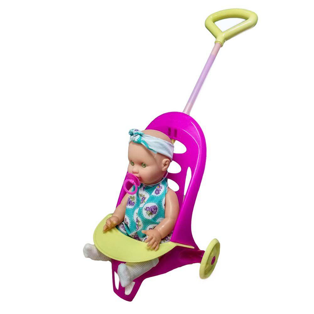 boneca vamos passear com chupeta e carrinho 50 cm