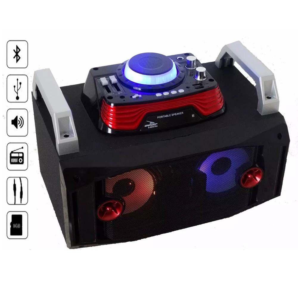caixa de som bluetooth 40w multi-conexões com radio fm-preto