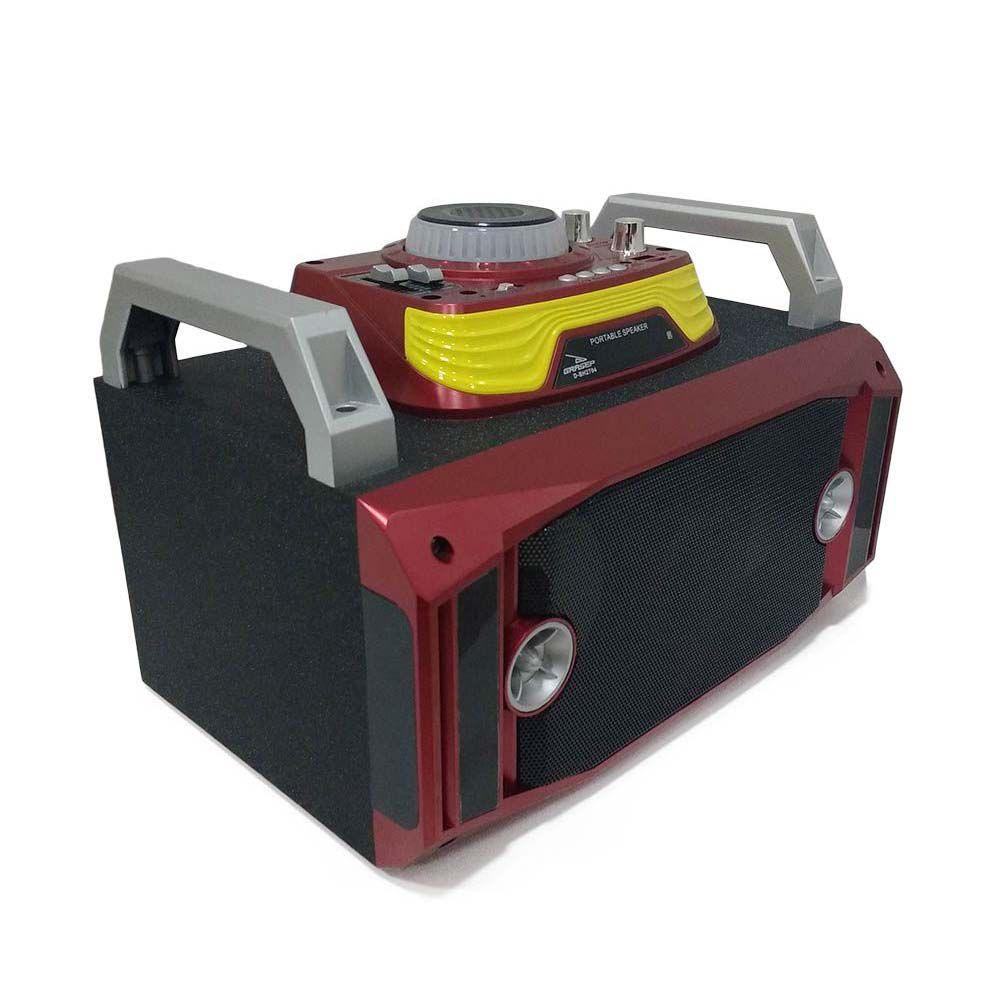 caixa de som bluetooth 40w multi-conexões radio fm-Vermelho