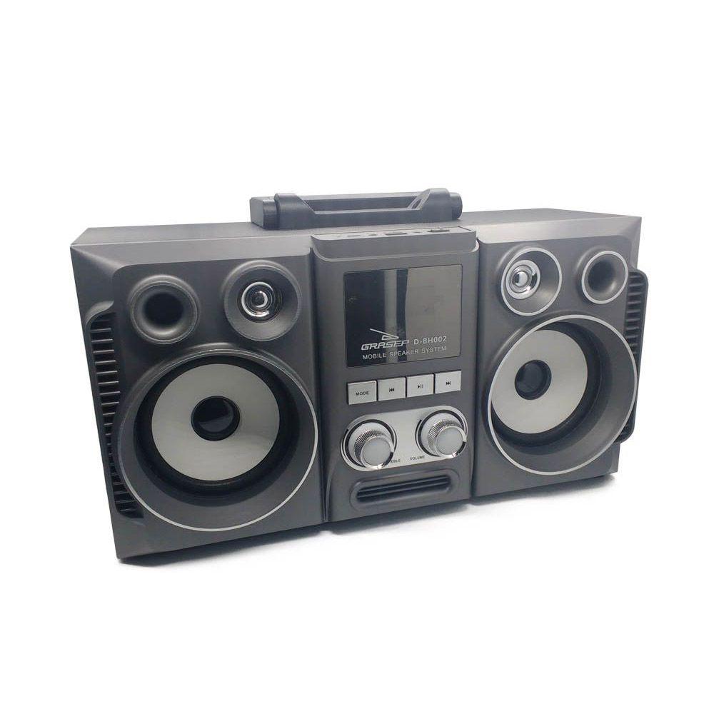 caixa de som bluetooth com radio fm recarregável 20w - cinza