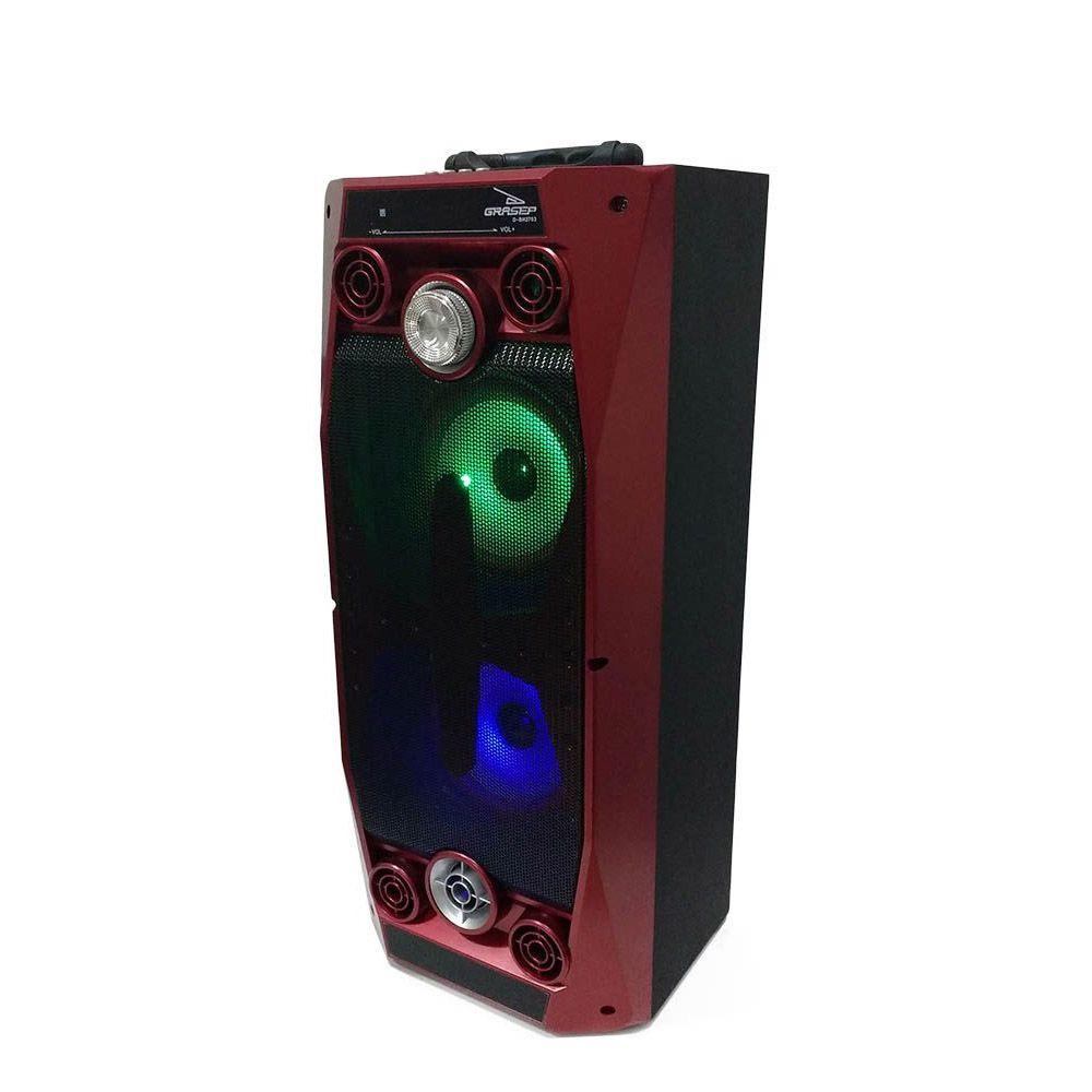 caixa de som bluetooth portátil 40w led rádio fm vermelho