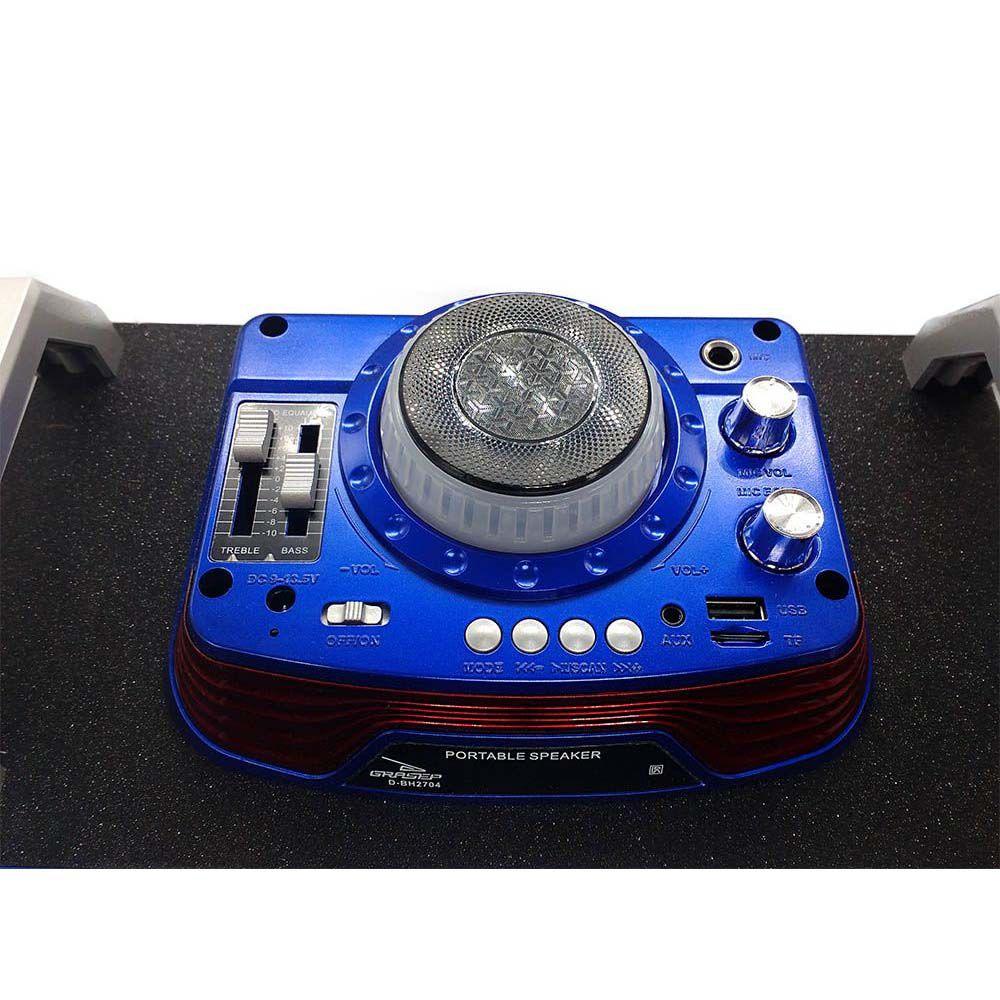caixa de som bluetooth  40w multi-conexões com radio fm - azul