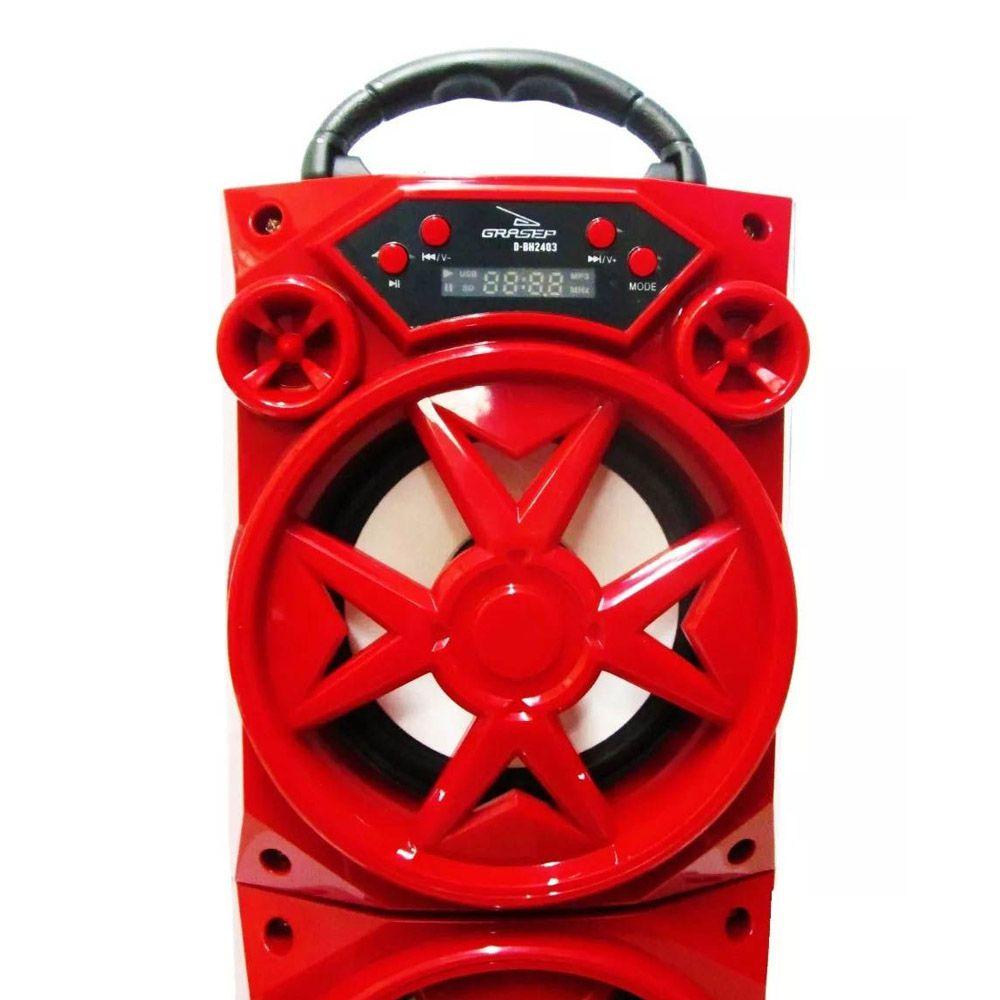 caixa de som bluetooth radio fm recarregável 15w vermelho