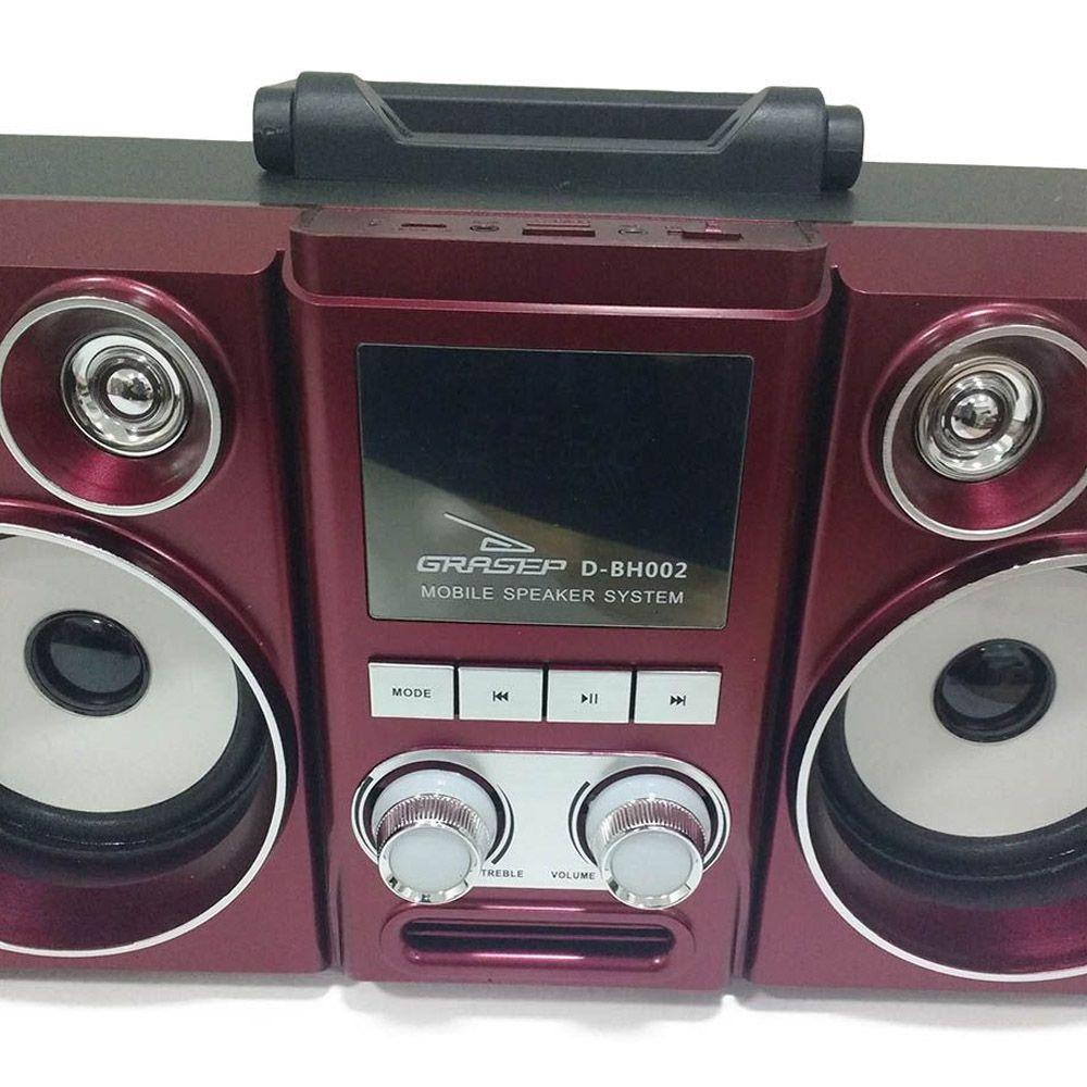 Caixa de Som Bluetooth Radio FM Recarregável 20W Vermelho