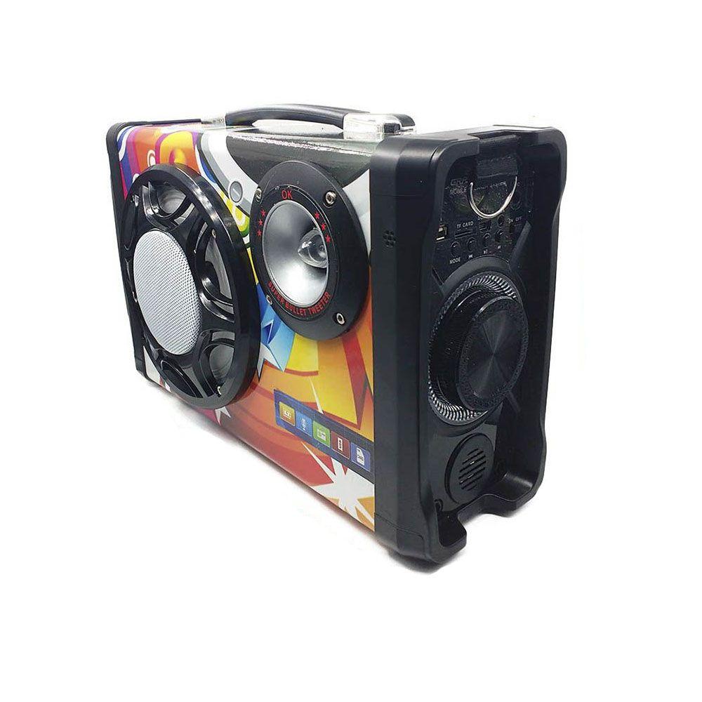 Caixa de Som Portátil Bluetooth e Hi-Fi com Microfone Cabos Radio FM