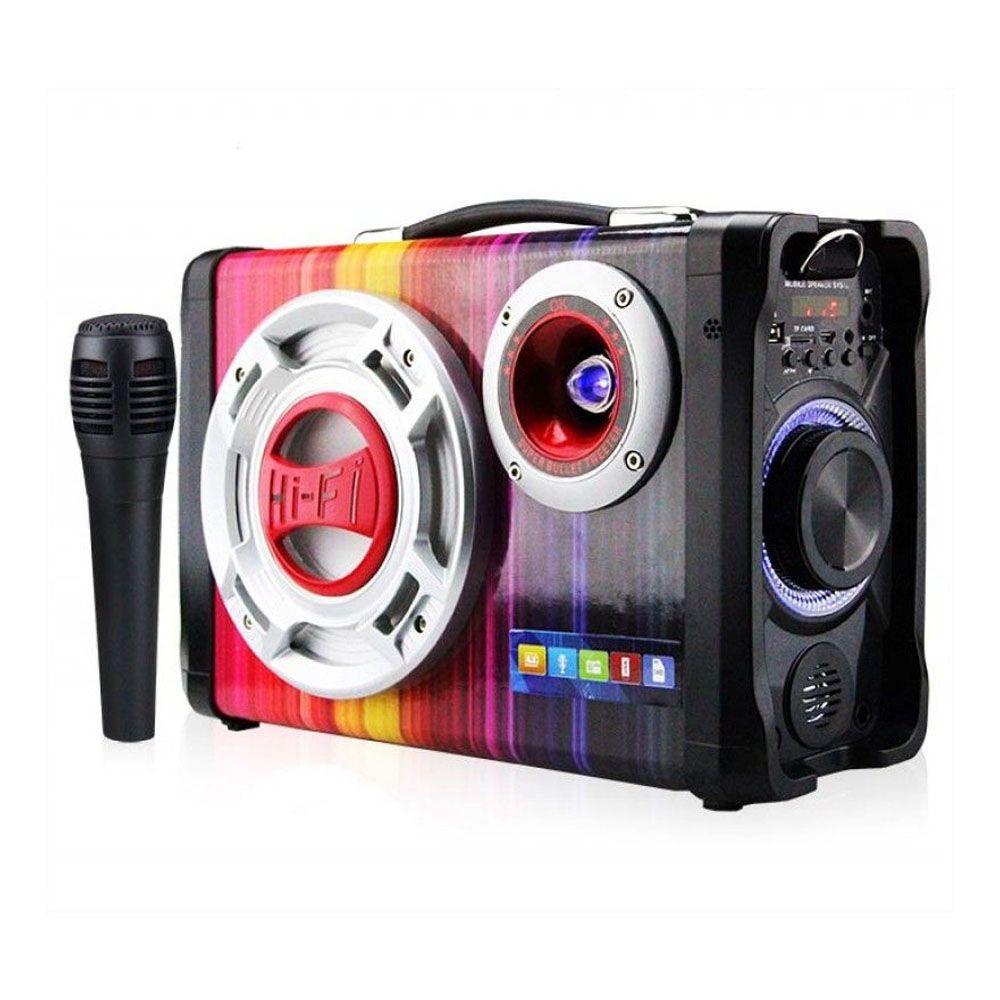 caixa de som hi-fi bluetooth com radio fm + microfone - grey