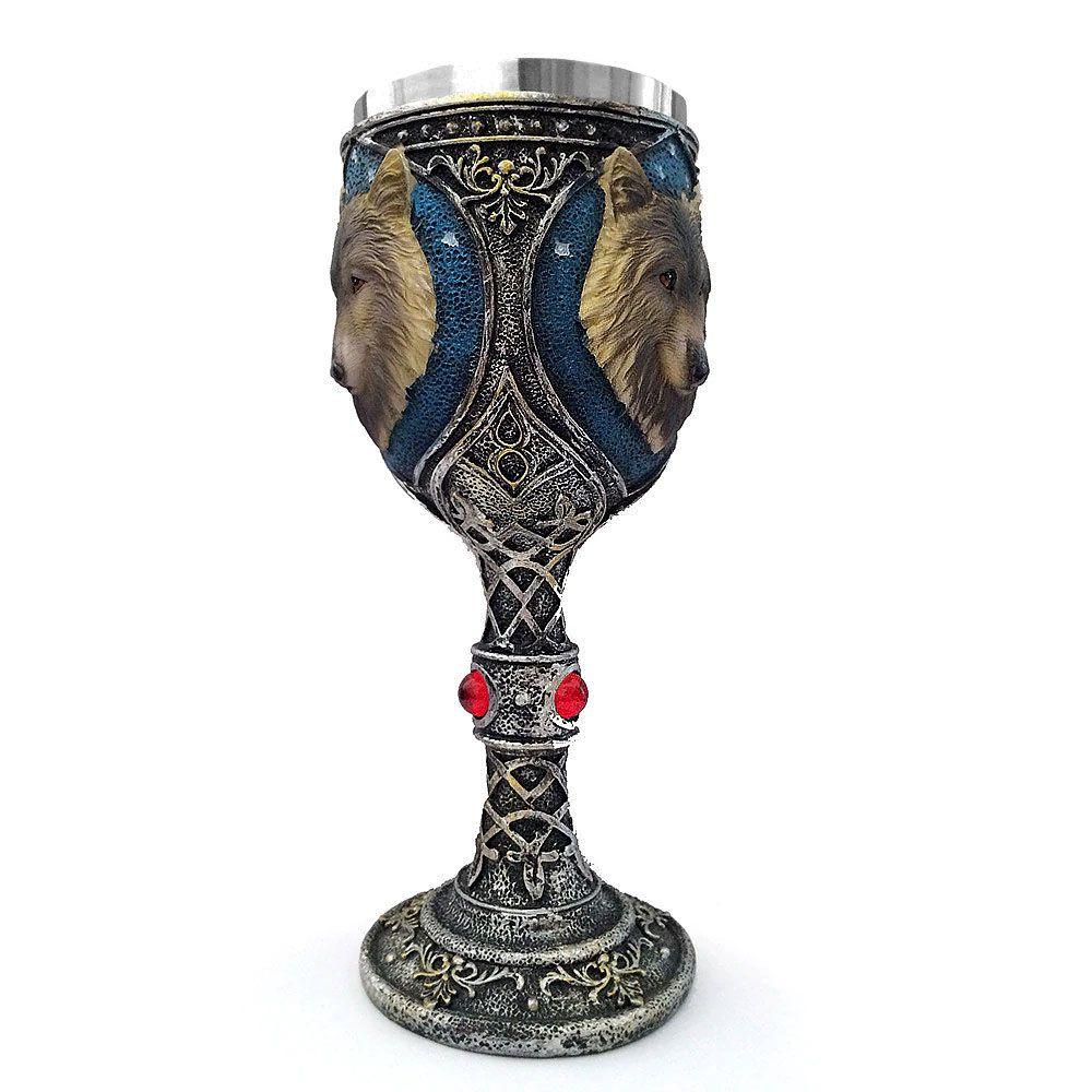 Cálice Taça Lobo Branco da série GOT em Aço Inox 200 ml