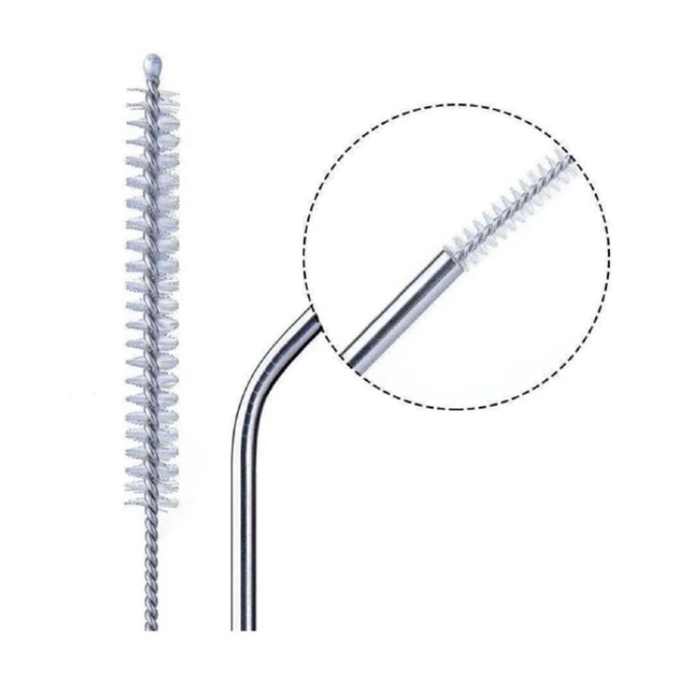 Canudos Aço Inox Curvo e reto Reutilizável com Escova