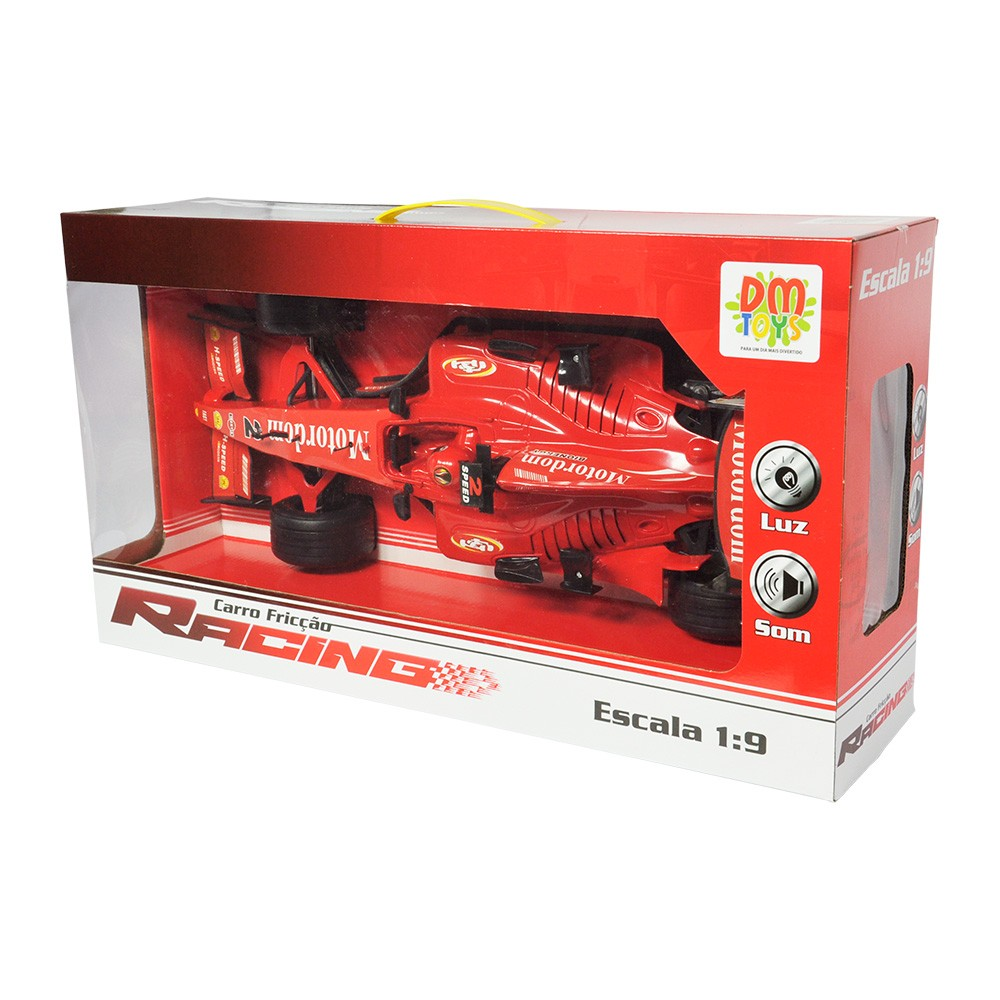 carrinho de fórmula 1 com fricçao luzes e sons - vermelho