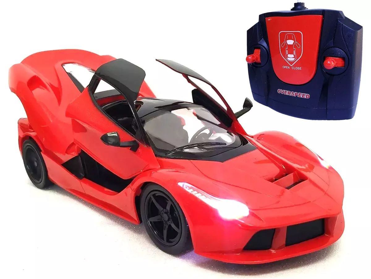 Carro Controle Remoto Ferrari Carrinho Abre Portas Farol Led