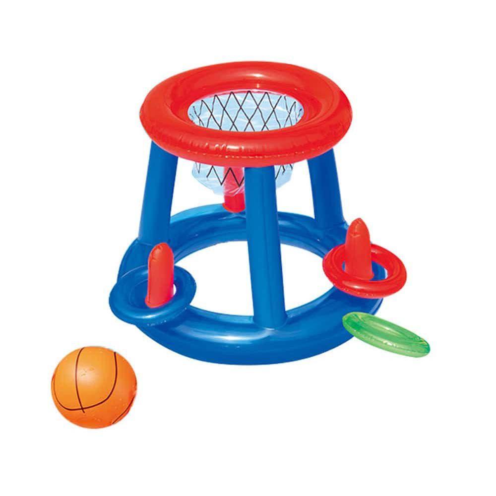 cesta de basquete inflável para piscina com bola e 3 aros