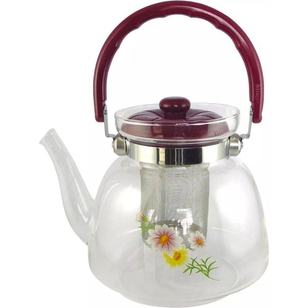 Chaleira de vidro com infusor Chá Inox 1000ml Resistente