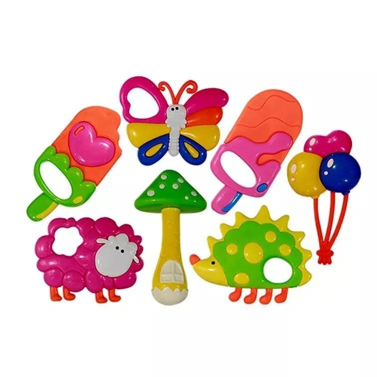 chocalho infantil colorido forma de animais kit com 5 peças