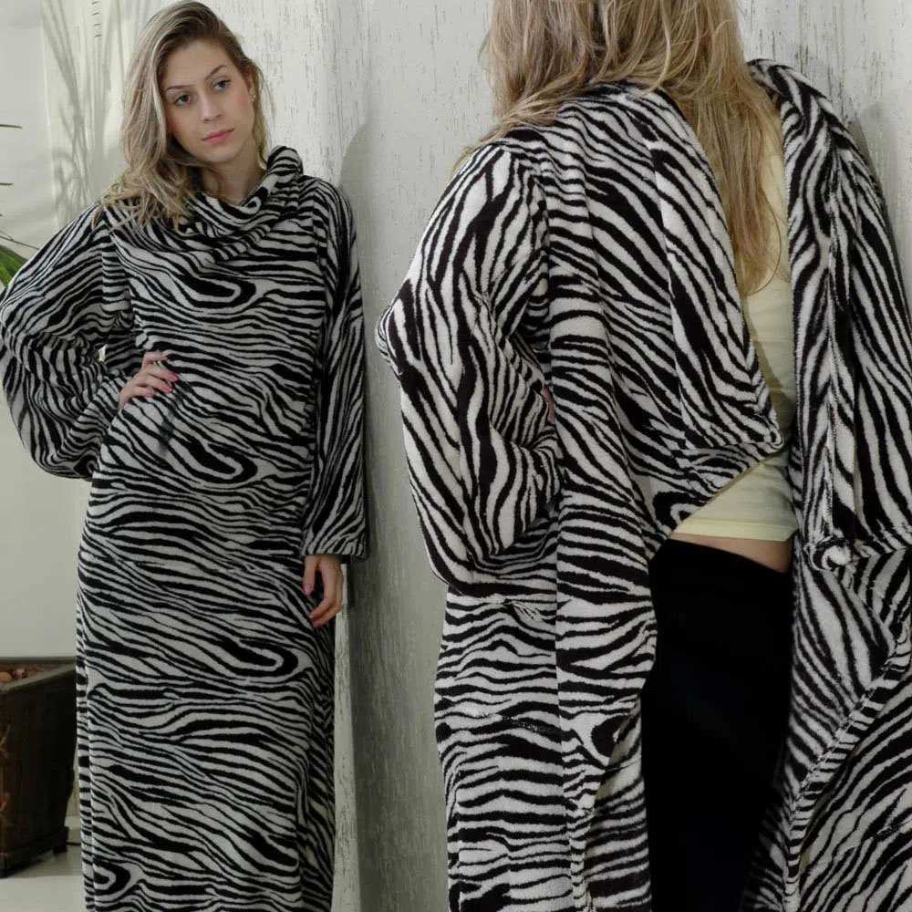 Cobertor Mangas Zebra Adulto Manta Microfibra 1,60m x1,30m